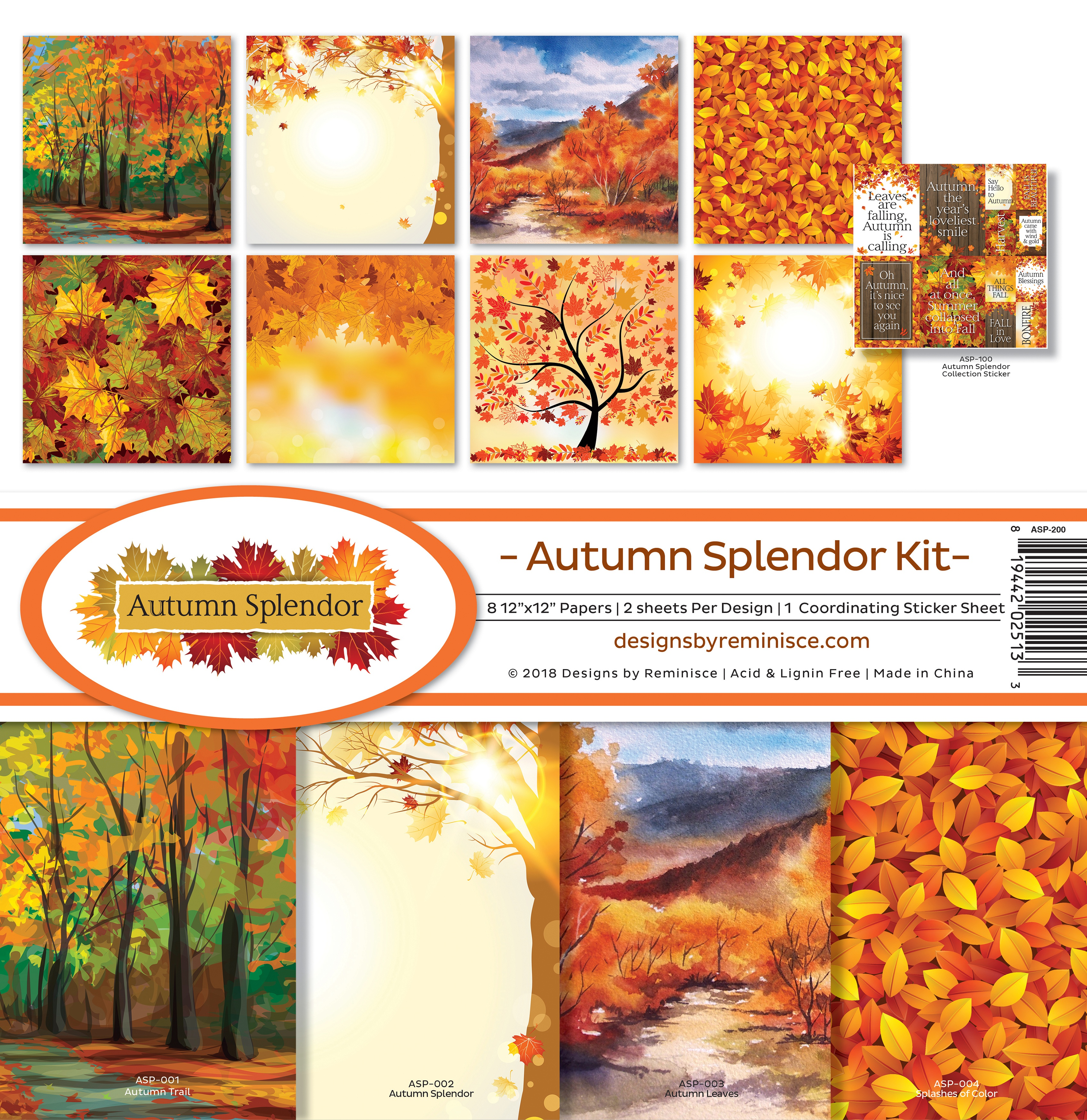 "Reminisce Collection Kit 12""X12""-Autumn Splendor"