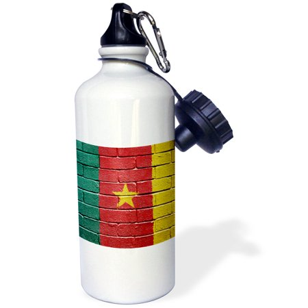 3dRose National flag of Cameroon painted onto a brick wall Cameroonian, Sports Water Bottle, 21oz