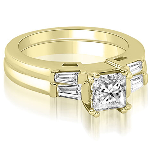 1.30 CT.TW Princess Baguette Cut Three Stone Diamond Bridal Set in 14K White, Yellow Or Rose Gold