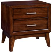 Furniture of America Dallie Modern Wood 2-Drawer Nightstand, Brown Cherry