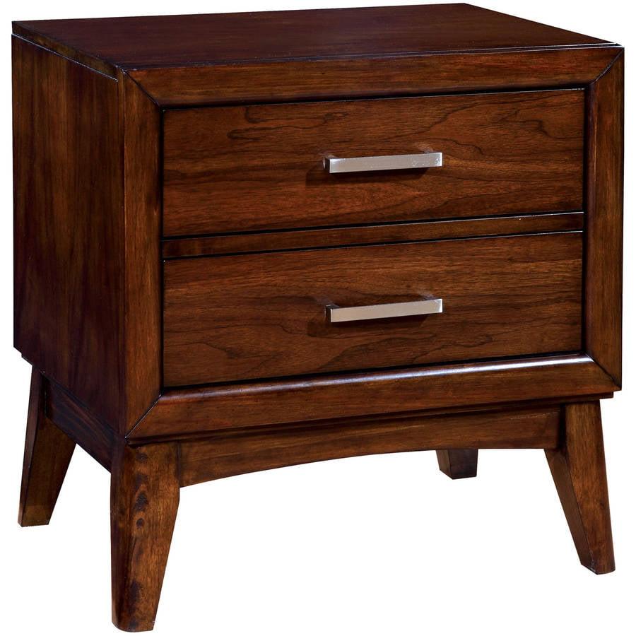 Furniture of America Kathaleen Transitional Sleek Nightstand, Brown Cherry