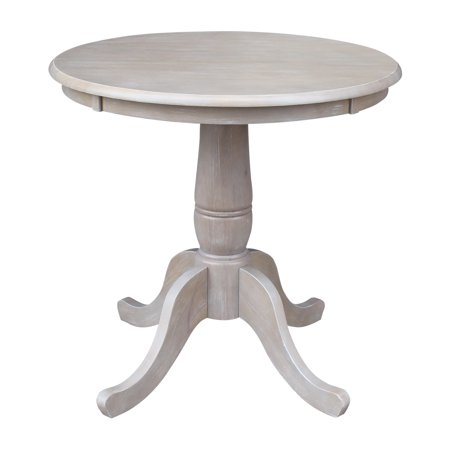 Solid Wood Round Pedestal Dining Table in Washed Gray Taupe