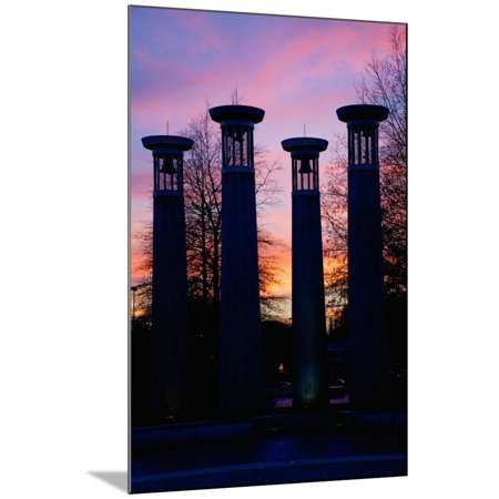 Colonnade in a park at sunset, 95 Bell Carillons, Bicentennial Mall State Park, Nashville, David... Wood Mounted Print Wall (Sunset Mall Location)