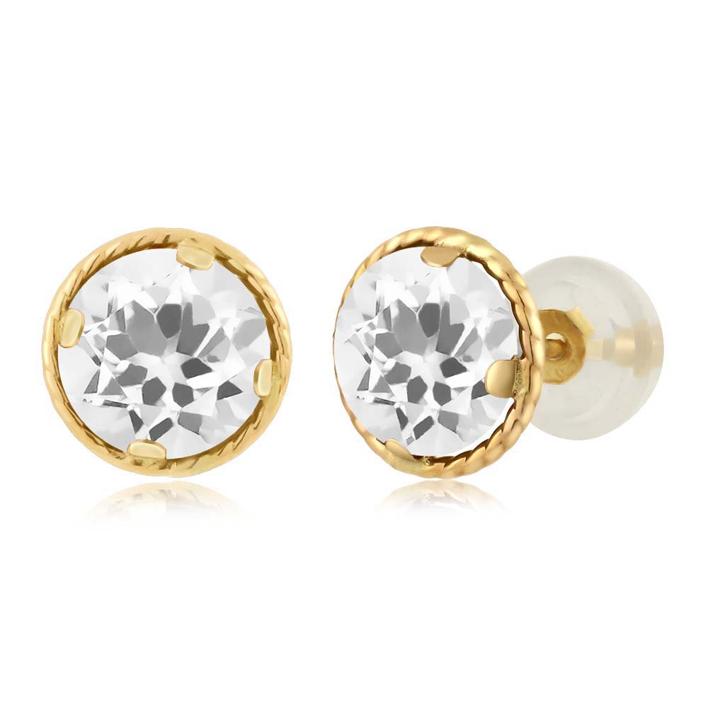 1.40 Ct Round 6mm White Quartz 14K Yellow Gold Stud Earrings