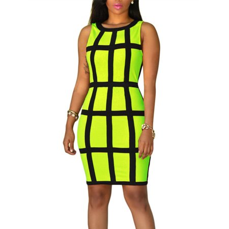 Grid Plaid Pattern Women Bodycon Skinny Dress Sleeveless Mini Dresses