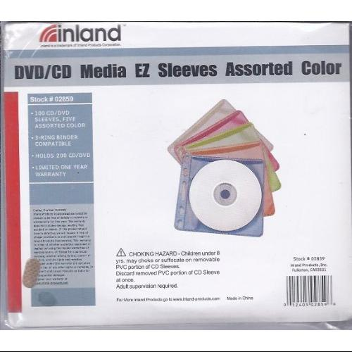 Inland DVD/CD Media EZ Sleeves Assorted Colors