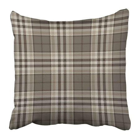 BSDHOME Abstract Plaid Tartan Brown Beige White Color Scottish Lumberjack and Hipster Style Pillow Case Cushion Cover 16x16 inch - image 1 of 1