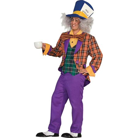 Mens MAD HATTER ADULT purple oversized hat, orange plaid jacket, Style