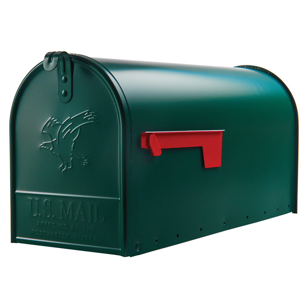 Gibraltar Mailboxes Elite Large Capacity Galvanized Steel Green Post Mount Mailbox,... by Wood Textures Inc