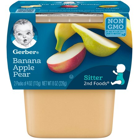Gerber 2nd Foods Banana Apple Pear Baby Food, 4 oz. Tubs, 2 Count (Pack of 8)