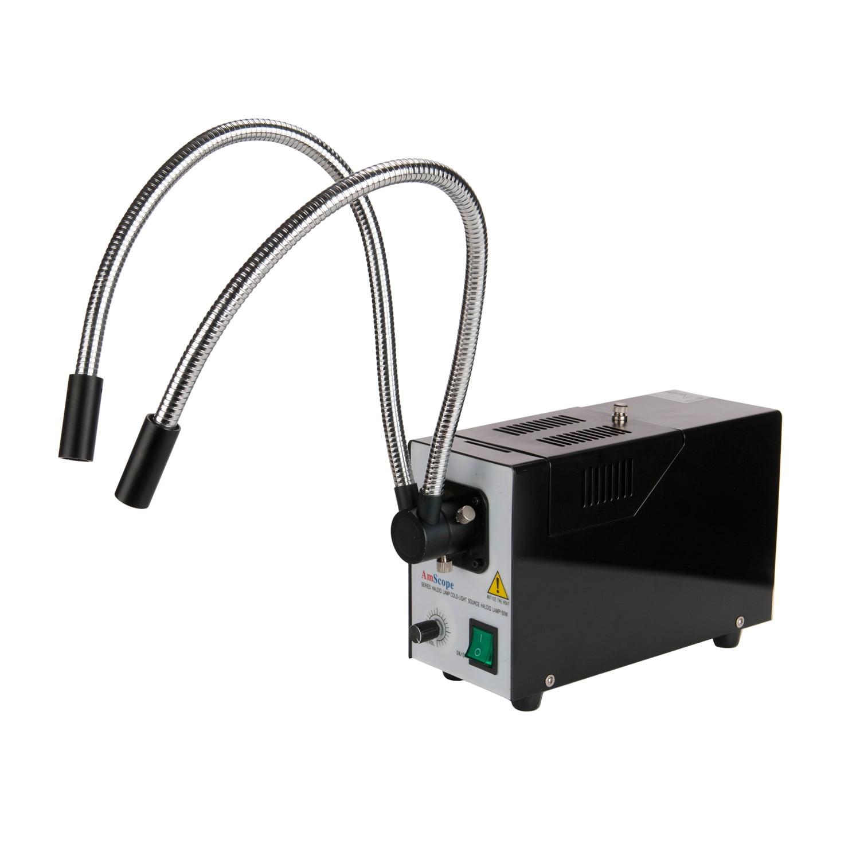 AmScope 150W Fiber Optic Dual Gooseneck Illuminator for Microscopes by United Scope