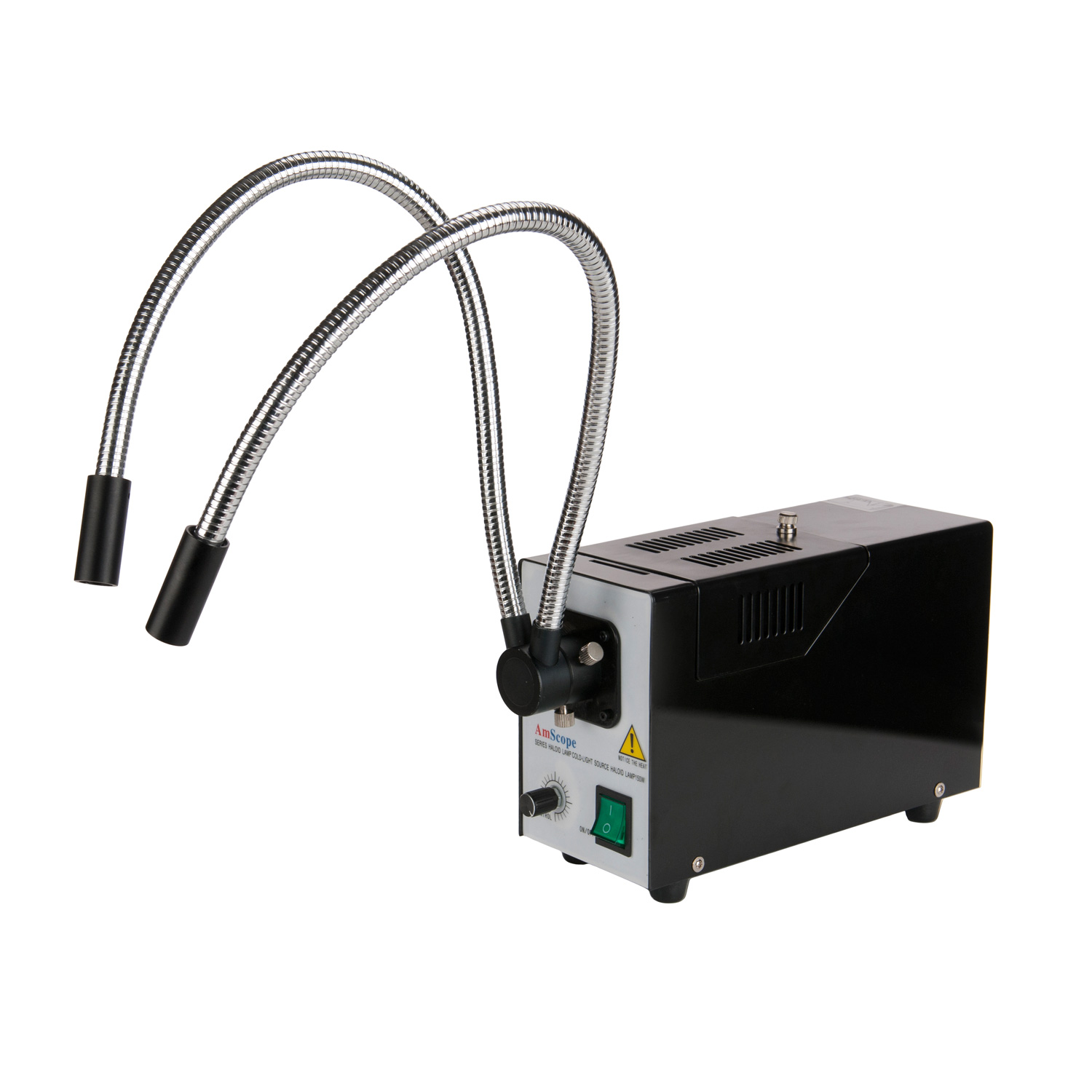 AmScope 150W Fiber Optic Dual Gooseneck Illuminator for M...