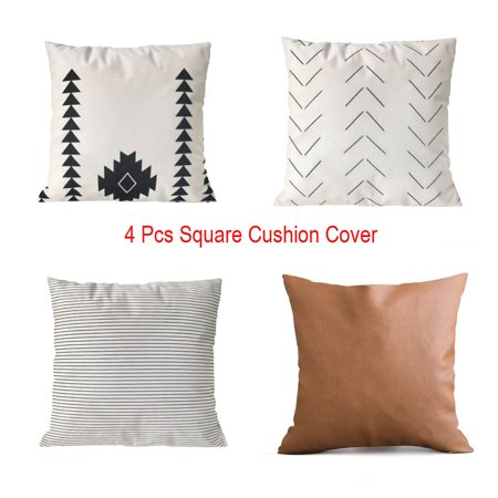 BEAD BEE 4Pcs Stripes Geometric Faux Leather Cushion Cover Square Pillow Case Home - Beaded Sari Pillows Cushion Covers