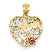 14k Yellow & Rose Gold w/ Rhodium #1 Mom in Heart Pendant