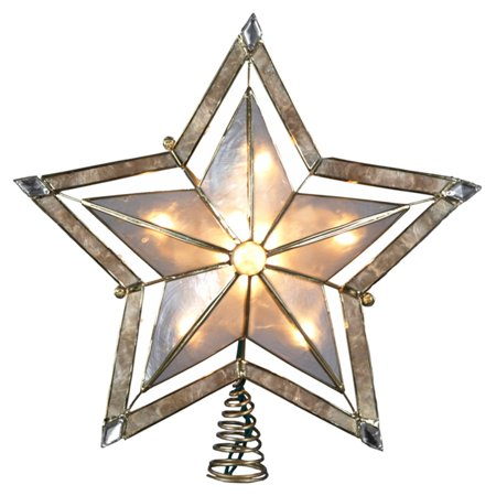Kurt Adler 10 in. 5-Point Large Star with Smoke Capiz Tree Topper