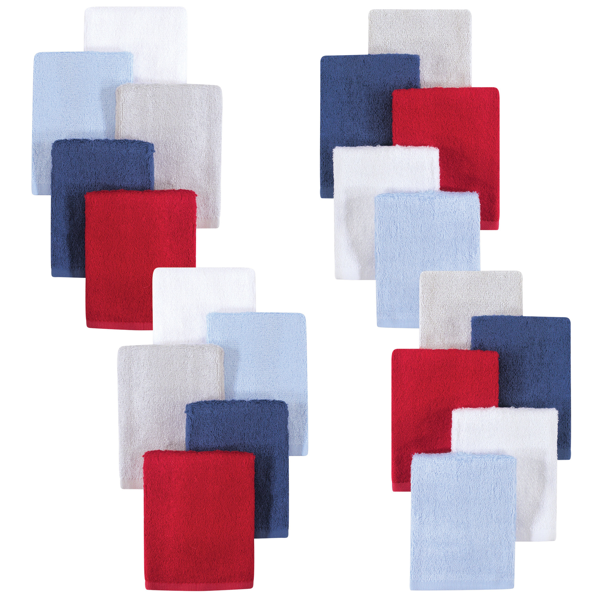 Little Treasure Luxuriously Soft Washcloths, 20 Pack, Blue Red by Little Treasure
