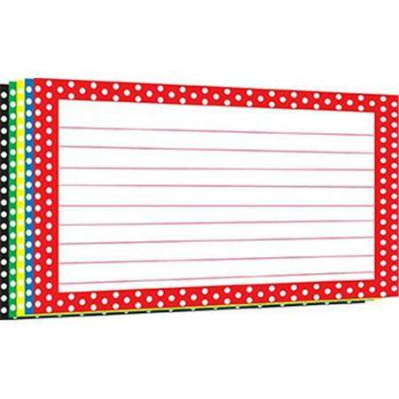 Top Notch Teacher Products TOP3669 Border Index Cards 4X6 Polka Dot (Arc Notched Border)
