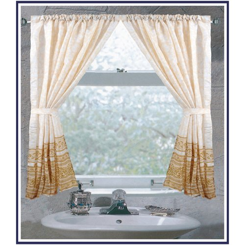 """Fleur"" 100% polyester fabric window curtain with two tie backs, size 54""x34"""