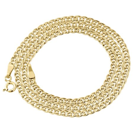 10K Yellow Gold 3MM Double Cuban Curb Italian Link Chain Necklace 16 Inches Designer Double Link Necklace