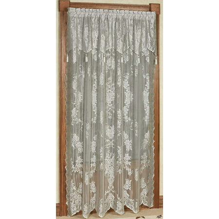 CARLY LACE CURTAIN PANEL WITH ATTACHED VALANCE WITH TASSELS, 63