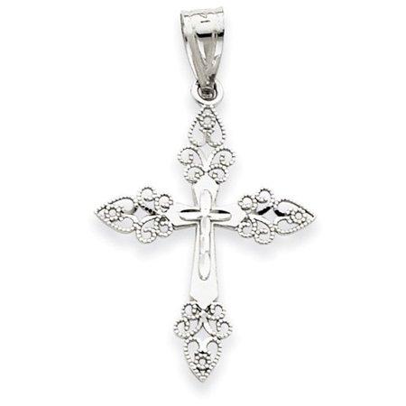 14k White Gold Filigree Cross (14k White Gold Polished Filigree Cross Pendant.)
