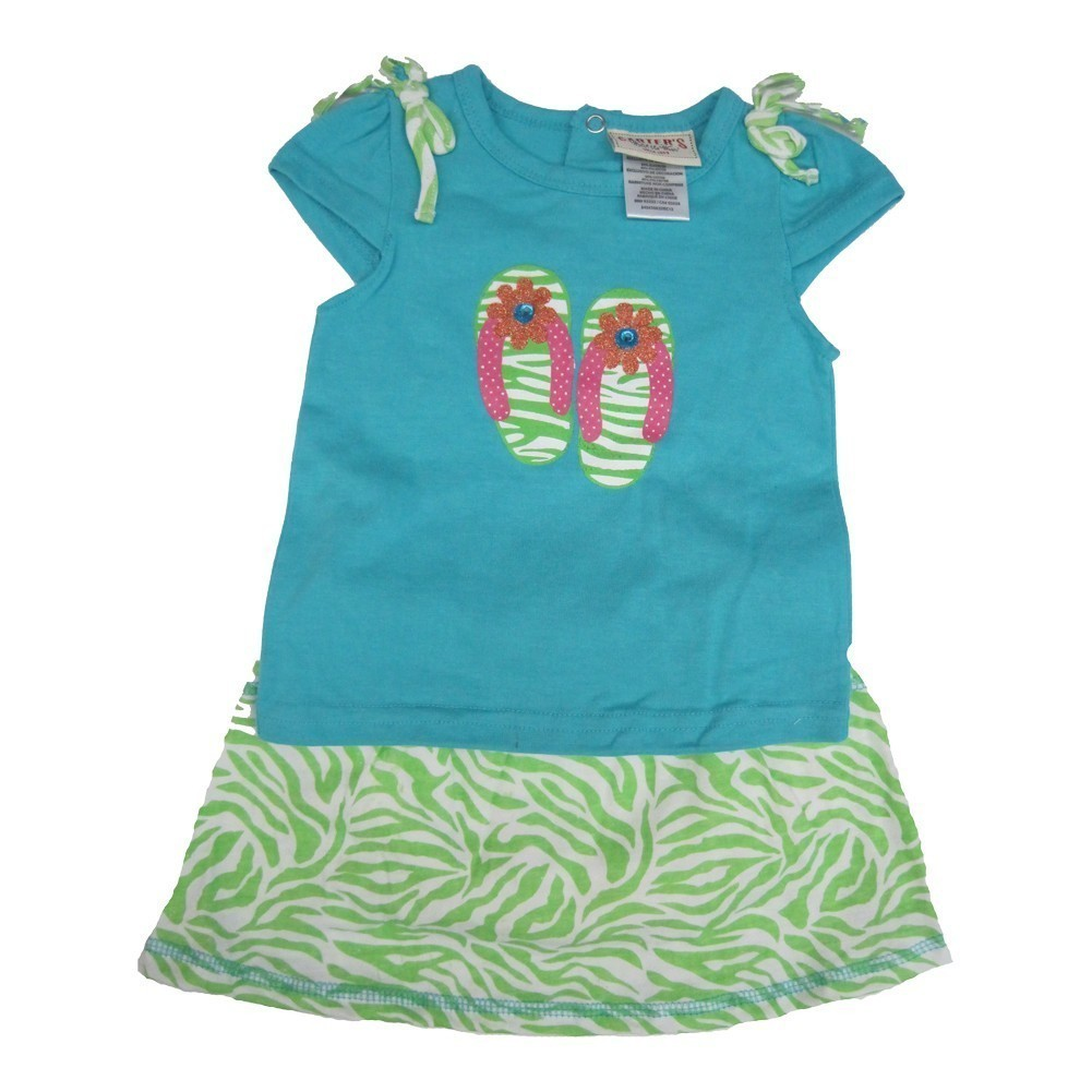 Carter's Baby Girls Turquoise Top Green Zebra Pattern 2 Pc Skirt Outfit 12-24M
