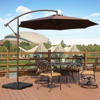 Bally 10 ft. Cantilever Hanging Patio Umbrella with Base Weights, Coffee