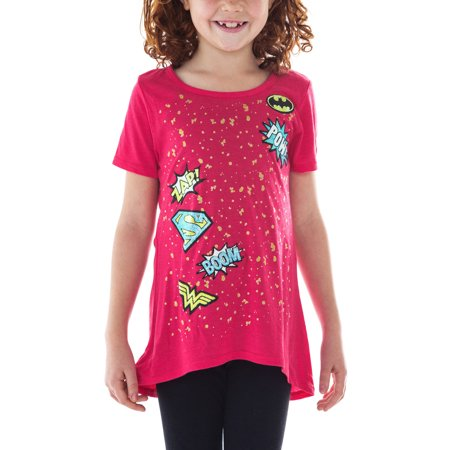 DC Superhero Girls Comic Book Action Glitter T-Shirt Pink (Girl Superheroes Names)