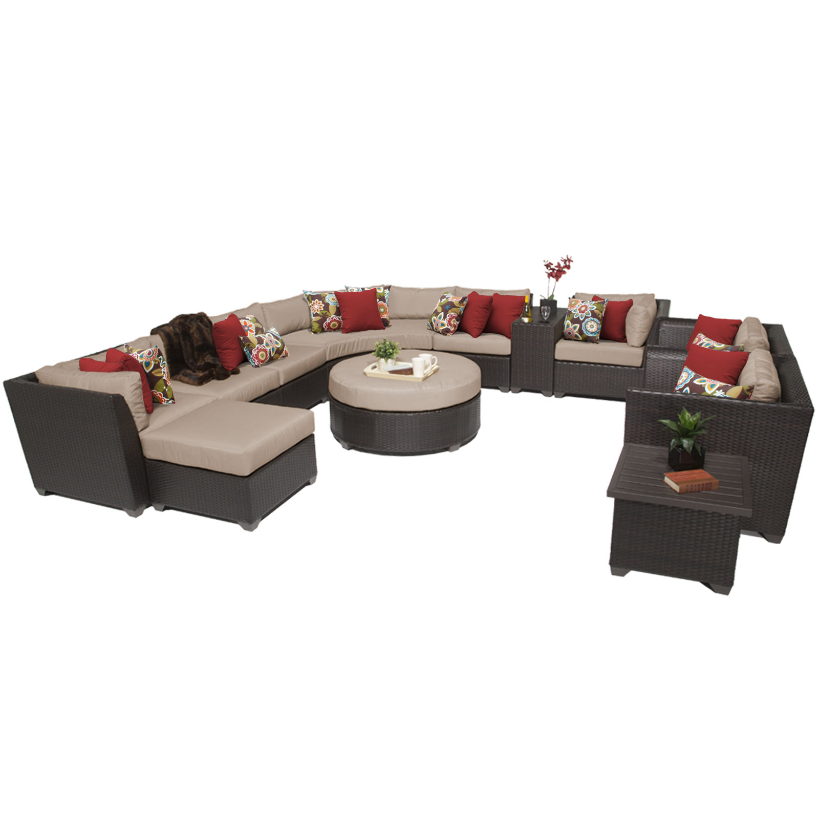 Bermuda 12 Piece Outdoor Wicker Patio Furniture Set 12a