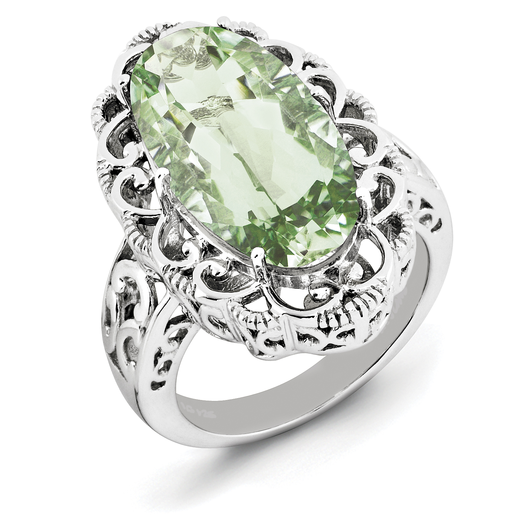 925 Sterling Silver Rhodium Oval Green Quartz Ring - image 2 of 2