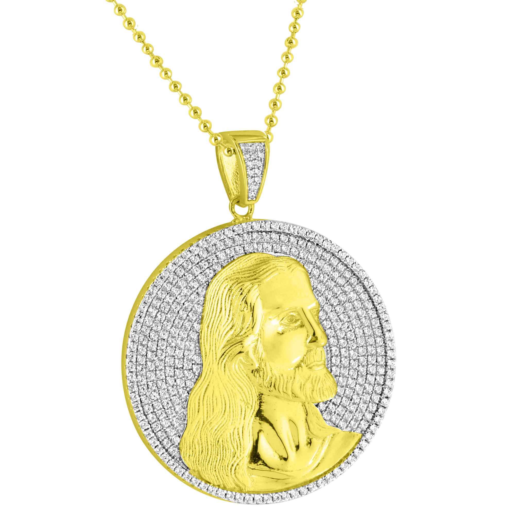 Jesus Christ Round Charm Pendant Necklace Set 14k Gold Fi...
