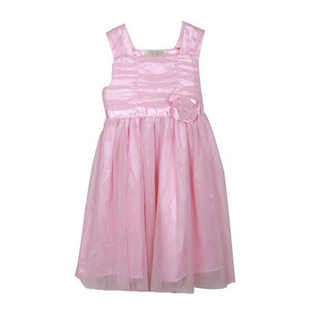 Richie House Little Girls Pink Flower Accent Ruffled Tulle Dress 2 (Pink Little Girl Dresses)