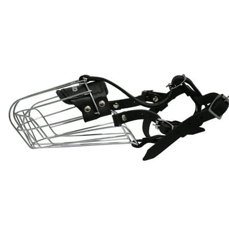 Wire Cage & Leather Muzzle (Miami). Size 9 Black. 13.75