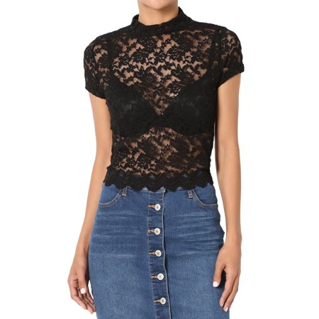 Sheer Black Lace Top - TheMogan Women's Lace Short Sleeve Mock Neck Crop Top Sheer Blouse Black M