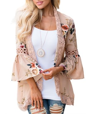 Women's Kimono Cardigans Floral Print Chiffon Beach Cover ups Loose Casual Tops