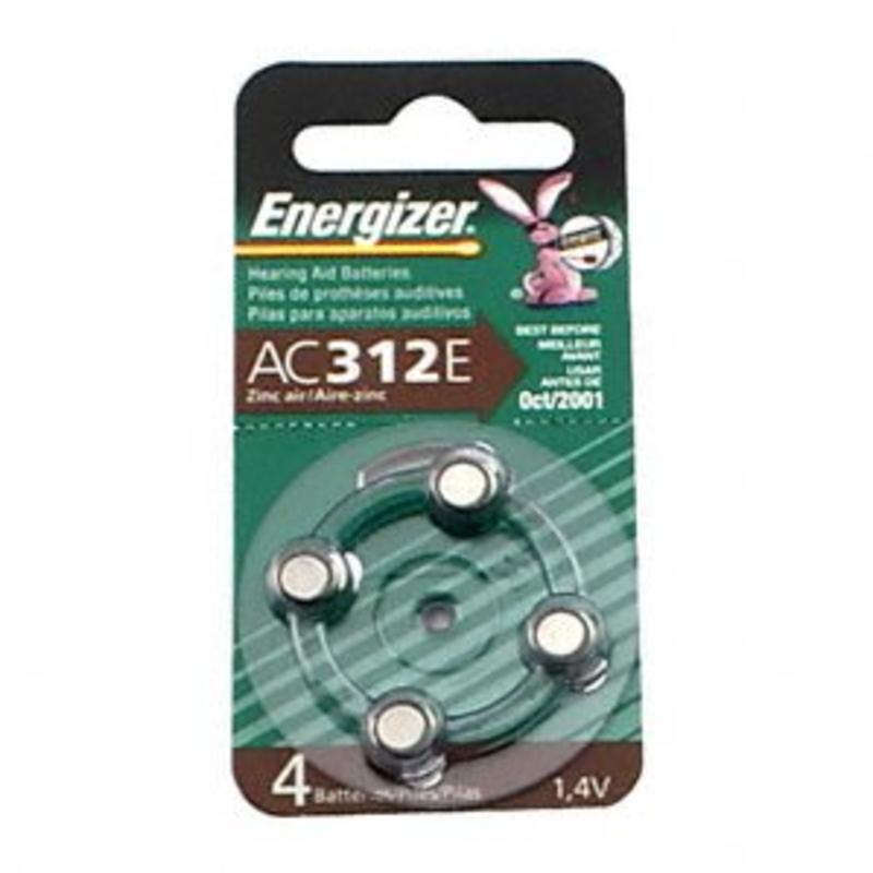 1.4V Flat Terminal Hearing Aid Batteries 4-Pack Energizer Batteries AC312E-4