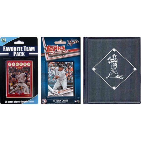 C & I Collectables MLB Detroit Tigers Licensed 2017 Topps Team Set and Favorite Player Trading Cards Plus Storage Album