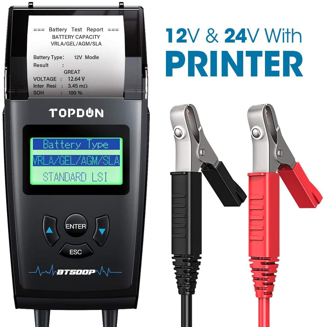 JUTA BTP500 Car Battery Load Tester,12V//24V Cranking Charging System Analyzer with Printer
