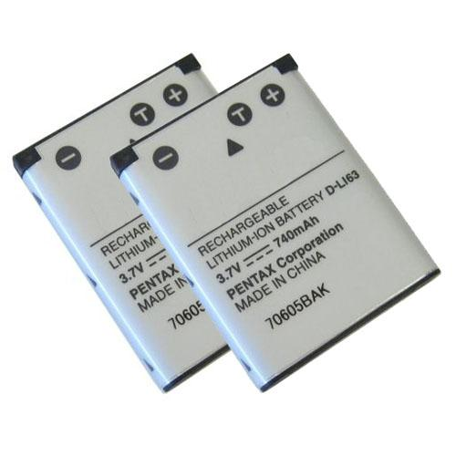 Battery for Pentax DLi63 (2-Pack) Camera Battery
