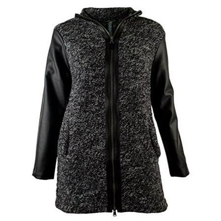Ralph Lauren Women's Faux Leather Trim Sweater Cardigan (Faux Leather Trim Trench Coat Ralph Lauren)