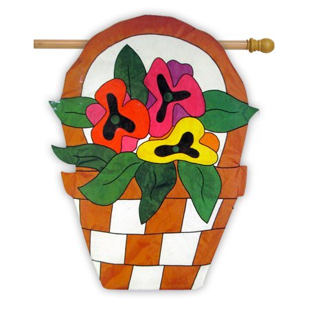 "Pansy Basket Applique House Flag Embroidered Flower Spring Sculpted  31.5"" x 41"""