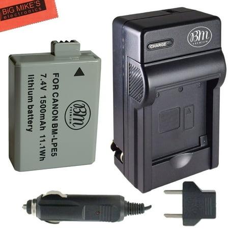 BM Premium LP-E5 Battery and Charger Kit For Canon EOS Rebel XS, Rebel T1i, Rebel XSi, 1000D, 500D, 450D, Kiss X3, Kiss X2, Kiss F Digital SLR Camera