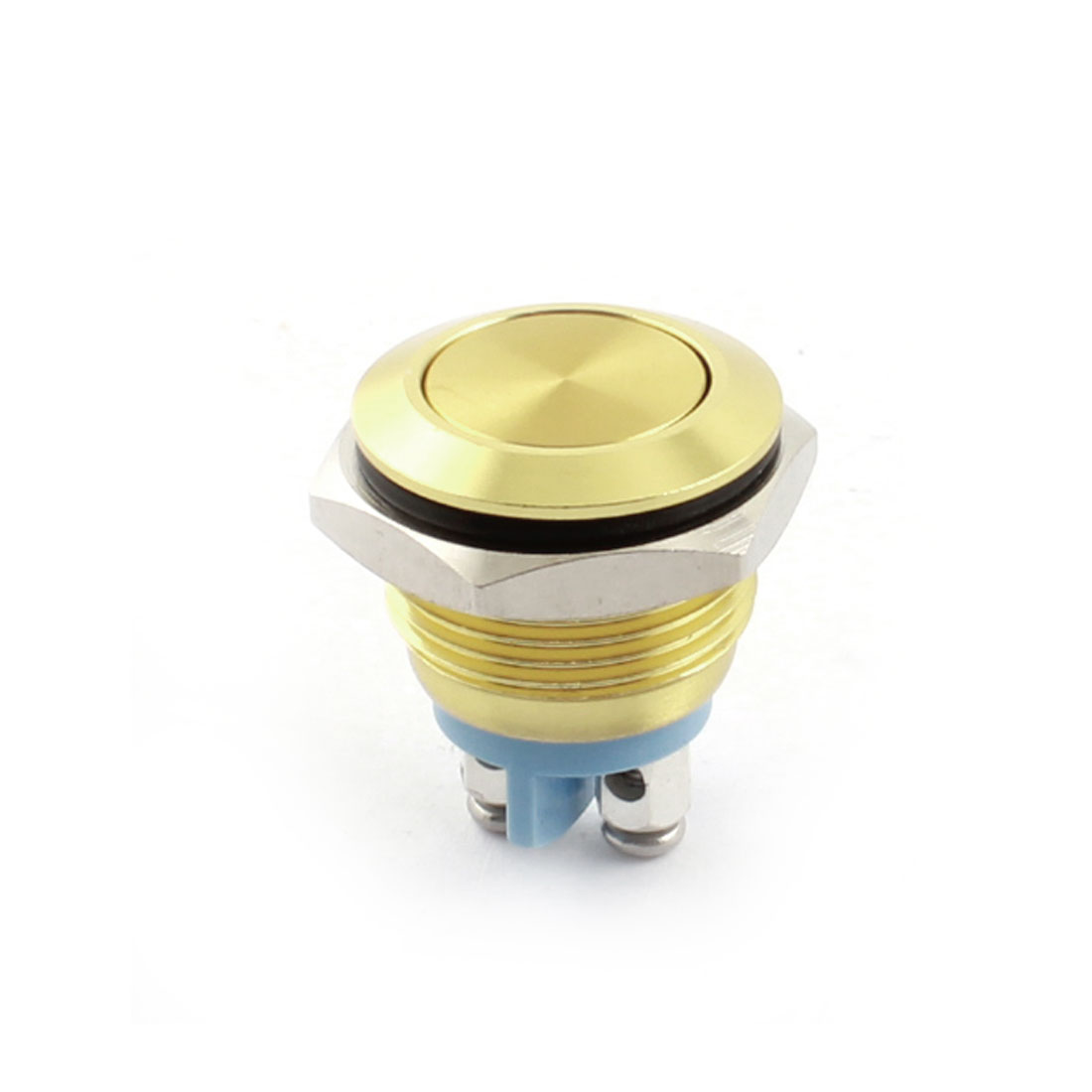 250V 3A 16mm Panel Mount SPST Momentary Metal Push Button Switch Yellow - image 2 of 2