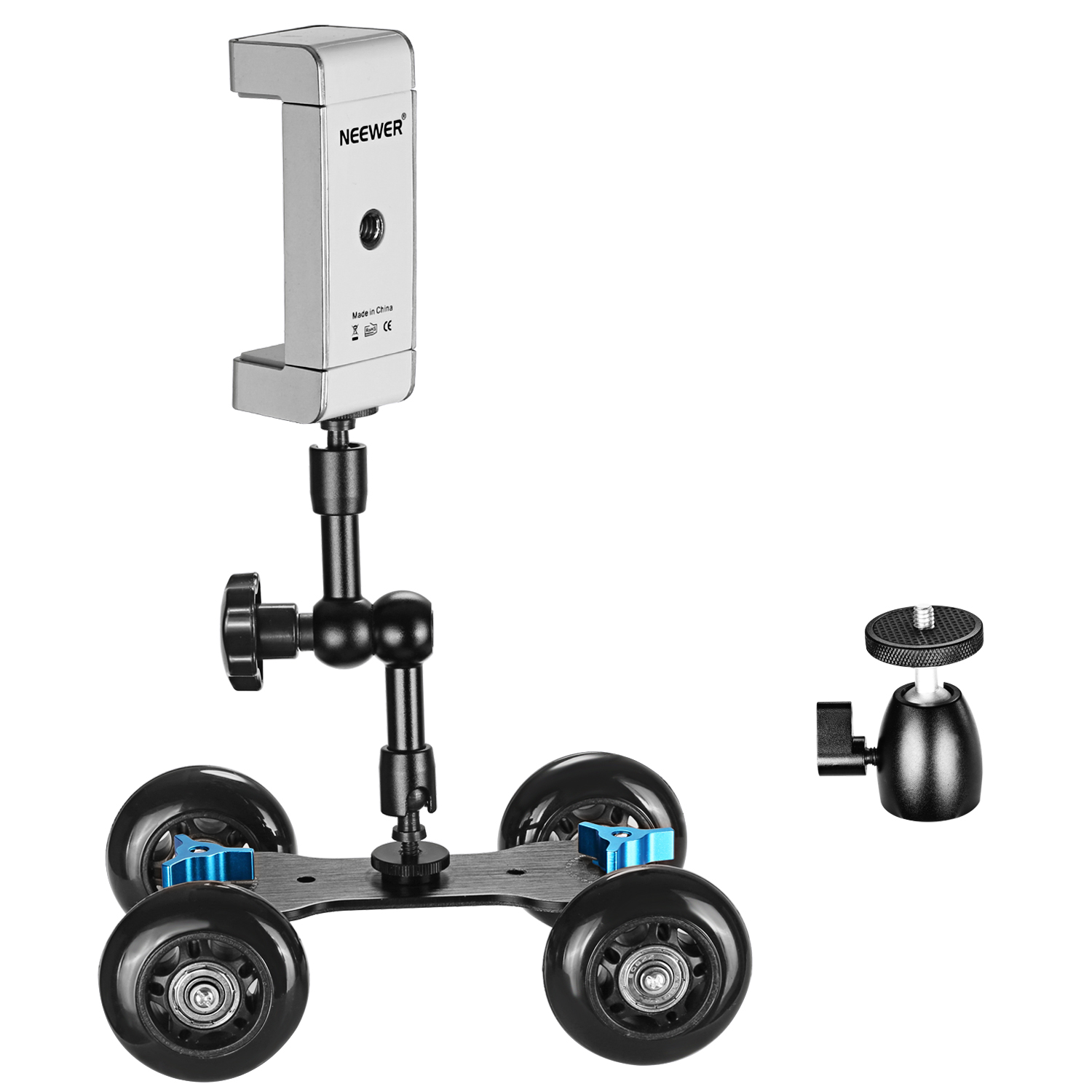 "Mobile Dolly +7"" Articulating Arm + Ball Head + Cellphone Tripod Holder Mount"