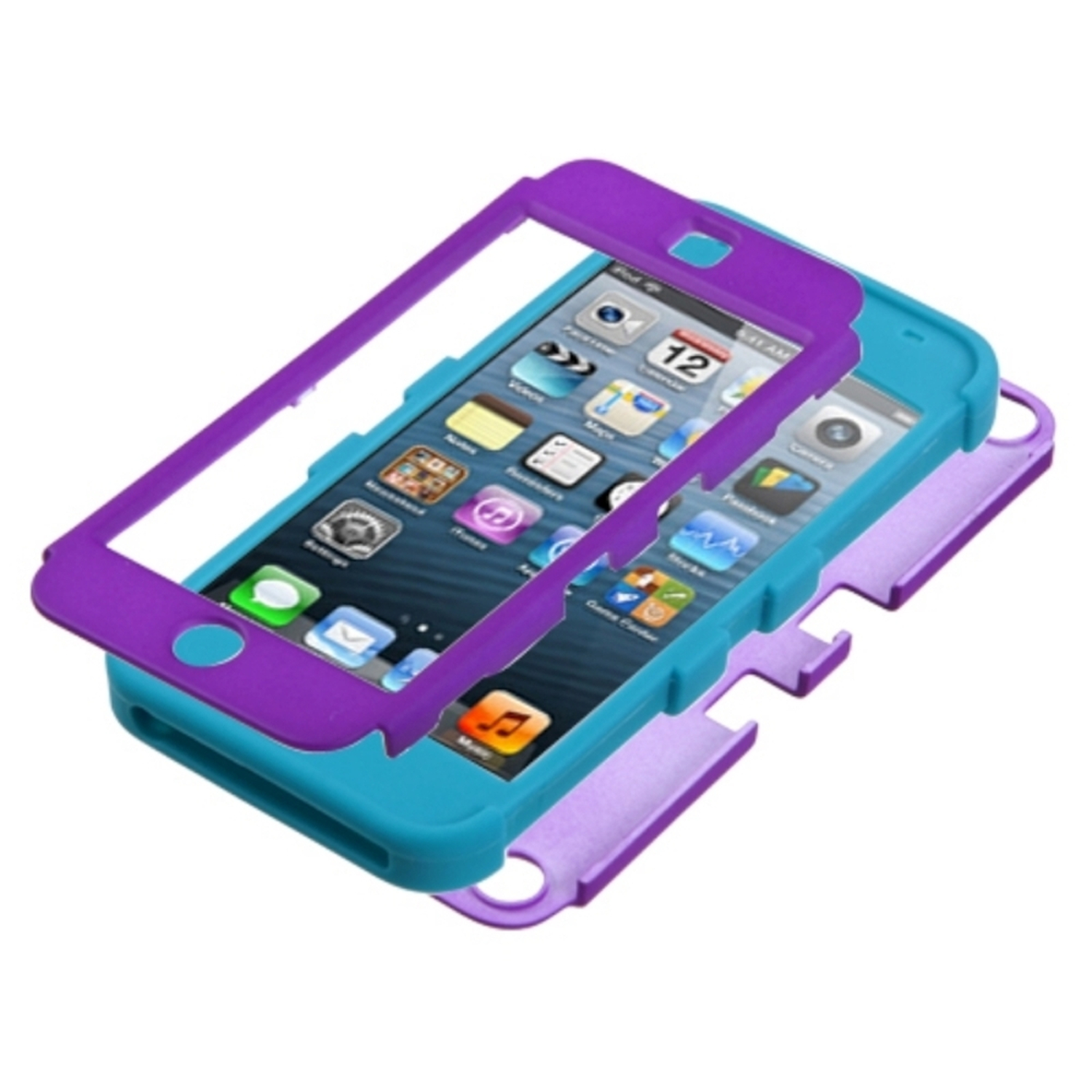 Insten Rubberized Grape/Tropical Teal TUFF Hybrid Phone Case for APPLE: iPod touch (5th 6th Gen)