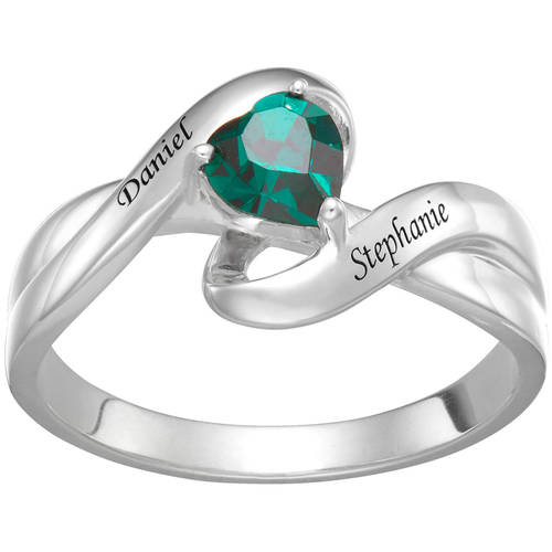Personalized Couple's Sterling Silver Name and Heart Birthstone Swirl Ring