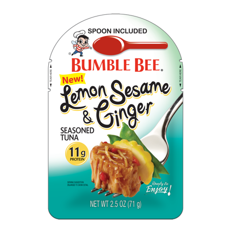 Reversible Bumble Bee (Bumble Bee Lemon Sesame & Ginger Seasoned Tuna Fish Pouch with Spoon, 2.5 Ounce Pouch, High Protein Food and Snacks)