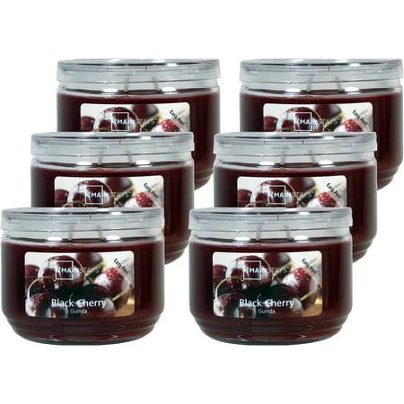 Mainstays 11.5 oz Jar Black Cherry Candle, Burgundy, 6pc