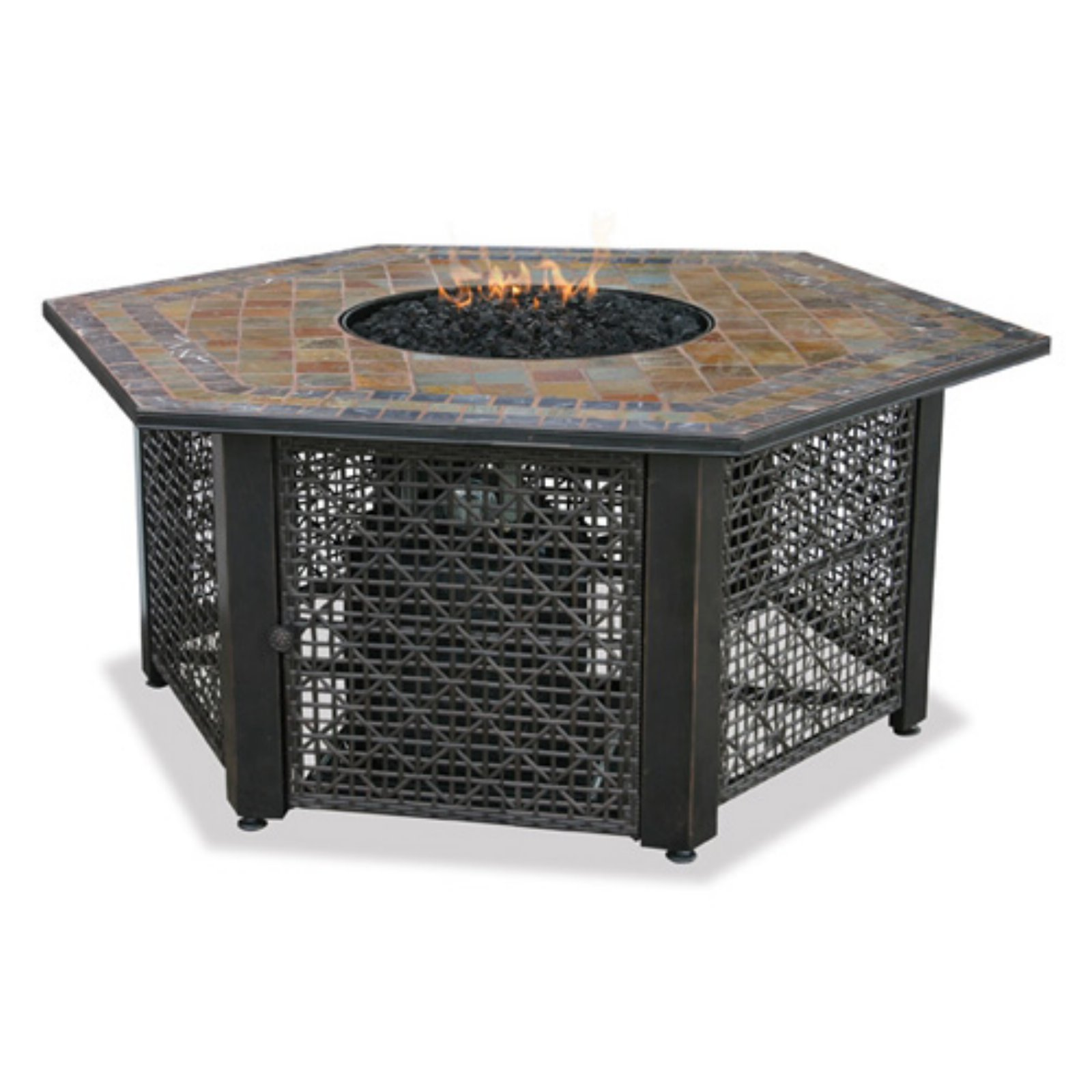 Endless Summer Hexagon Lp Gas Fire Table With Slate Tile Mantel Walmart Com Walmart Com
