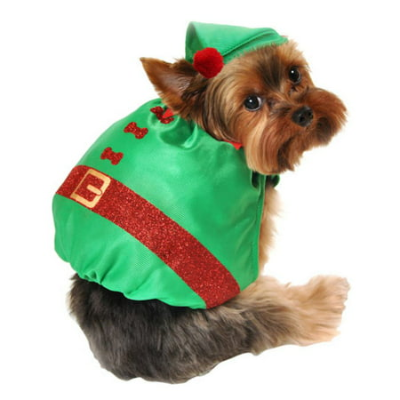 Elf Outfits For Dogs (Simply Dog Costume Silky Green Glitter Elf Christmas Pet Outfit with)